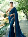 image of Prachi Desai Navy Blue Art Silk Fabric Saree With Embroidery Work