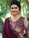photo of Prachi Desai Art Silk Fabric Saree In Burgundy With Embroidery Work