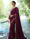image of Prachi Desai Art Silk Fabric Saree In Burgundy With Embroidery Work