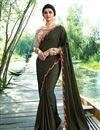 image of Prachi Desai Mehendi Green Designer Embroidered Saree In Art Silk Fabric