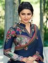 photo of Prachi Desai Occasion Wear Navy Blue Embroidered Saree In Art Silk Fabric