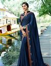 image of Prachi Desai Occasion Wear Navy Blue Embroidered Saree In Art Silk Fabric
