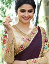photo of Prachi Desai Embroidered Wine Art Silk Fabric Function Wear Saree
