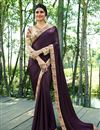 image of Prachi Desai Embroidered Wine Art Silk Fabric Function Wear Saree