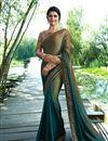 image of Prachi Desai Occasion Wear Dark Beige Embroidered Saree In Art Silk Fabric