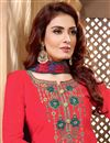 photo of Fancy Festive Wear Red Cotton Fabric Embroidered Patiala Suit