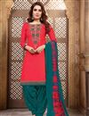 image of Fancy Festive Wear Red Cotton Fabric Embroidered Patiala Suit