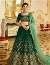 image of Eid Special Prachi Desai Sangeet Wear Art Silk Dark Green Designer Embellished Lehenga
