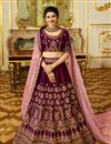 image of Eid Special Prachi Desai Wedding Function Wear Burgundy Color Designer Embroidered Lehenga In Art Silk