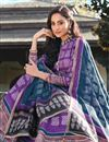 photo of Party Wear Art Silk Purple Color Readymade Printed Anarkali With Leggings