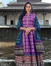 image of Party Wear Art Silk Purple Color Readymade Printed Anarkali With Leggings