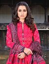 photo of Rani Color Party Wear Readymade Printed Anarkali With Leggings In Art Silk
