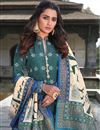 photo of Art Silk Teal Color Party Wear Readymade Printed Anarkali With Leggings