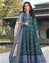 image of Art Silk Teal Color Party Wear Readymade Printed Anarkali With Leggings