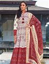 image of Party Wear Readymade Art Silk Printed Anarkali With Leggings In Off White Color