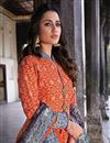 photo of Party Wear Art Silk Readymade Orange Color Printed Anarkali With Leggings