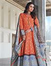 image of Party Wear Art Silk Readymade Orange Color Printed Anarkali With Leggings