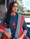 photo of Art Silk Party Wear Readymade Printed Anarkali With Leggings In Blue Color
