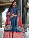 image of Art Silk Party Wear Readymade Printed Anarkali With Leggings In Blue Color