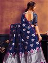 photo of Classic Art Silk Fabric Weaving Work Saree In Navy Blue