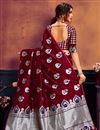 photo of Trendy Maroon Weaving Work Saree In Art Silk Fabric