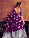 photo of Art Silk Fabric Classic Purple Weaving Work Saree