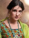 photo of Elegant Casual Wear Saree In Georgette Green With Digital Print Blouse