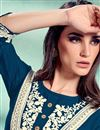 photo of Teal Color Fancy Rayon Fabric Festive Wear Embroidered Kurti