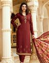 image of Prachi Desai Crepe Semistitched Churidar Salwar Suit