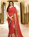image of Prachi Desai Georgette Casual Printed Saree In Red