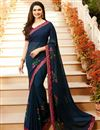 image of Prachi Desai Navy Blue Office Wear Printed Saree In Georgette