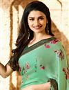 photo of Prachi Desai Printed Sea Green Casual Wear Saree In Georgette