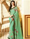 image of Prachi Desai Printed Sea Green Casual Wear Saree In Georgette