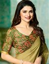 photo of Prachi Desai Khaki Color Casual Printed Saree In Georgette