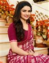 photo of Prachi Desai Georgette Office Wear Printed Casual Wear Saree In Crimson Color