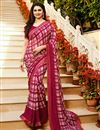 image of Prachi Desai Casual Wear Crimson Color Printed Saree In Georgette