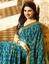 photo of Prachi Desai Casual Style Teal Georgette Saree