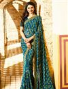 image of Prachi Desai Casual Style Teal Georgette Saree In Plus Size