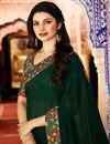 photo of Prachi Desai Casual Wear Georgette Printed Saree In Dark Green