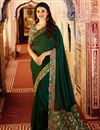 image of Prachi Desai Casual Wear Georgette Printed Saree In Dark Green