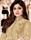 photo of Shamita Shetty Beige Color Function Wear Suit In Georgette With Front Slit