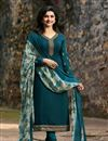 image of Prachi Desai Designer Party Wear Teal Crepe Fabric Embroidered Salwar Suit