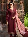 image of Prachi Desai Festive Wear Designer Maroon Crepe Fabric Embroidered Dress