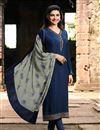 image of Prachi Desai Festive Wear Designer Navy Blue Color Crepe Fabric Embroidered Dress