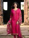 image of Prachi Desai Designer Festive Wear Fancy Dark Pink Crepe Fabric Embellished Dress
