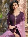 photo of Prachi Desai Party Style Dark Lavender Color Crepe Fabric Designer Fancy Embellished Dress