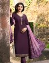 image of Prachi Desai Party Style Dark Lavender Color Crepe Fabric Designer Fancy Embellished Dress