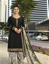 image of Prachi Desai Featuring Crepe Fabric Fancy Embroidered Patiala Suit In Black
