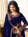 photo of Ayesha Takia Featuring Embroidered Blue Designer Straight Cut Suit In Georgette Fabric