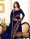 image of Ayesha Takia Featuring Embroidered Blue Designer Straight Cut Suit In Georgette Fabric